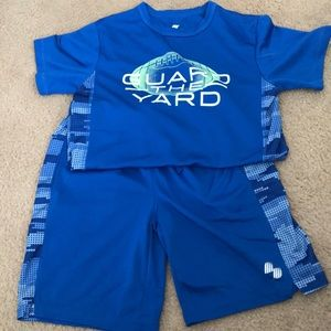 Boys active wear shorts and tee